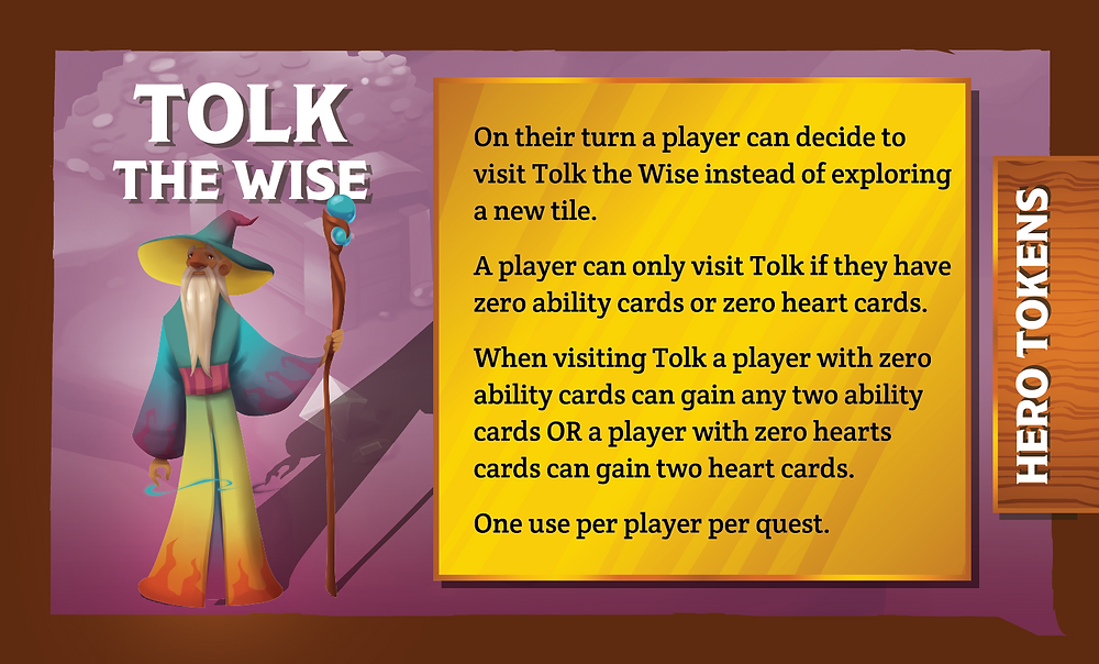 The Quest Kids Board Game - Tolk the Wise Ally Card Back