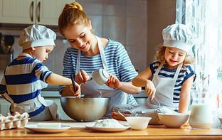 Nanny cooking with children