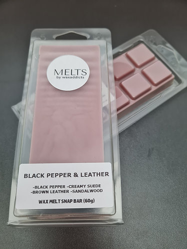 Black Pepper and Leather Wax Melt Snap Bar by Wax Addicts