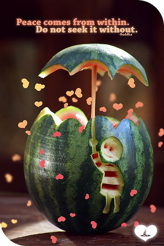 Buddha saying cute art watermelon peace comes from within. do not seek it without.