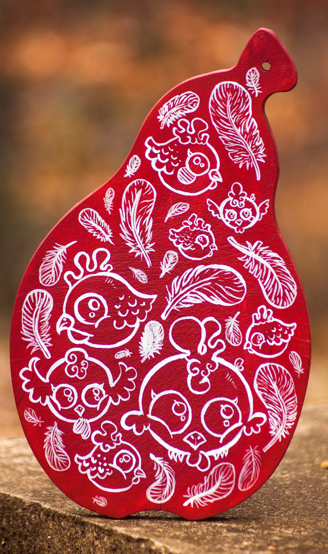 Chicken Art Red Cutting board.JPG