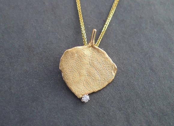 Aspen Leaf with Dewdrop