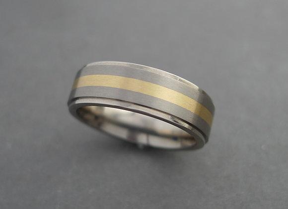 Titanium with 14K Yellow Gold