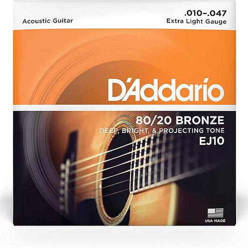 Cuerda D'ADDARIO Metal para Guitarra Acustica