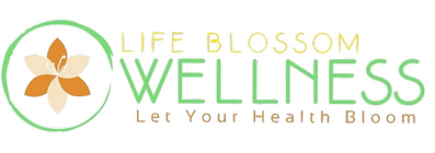 Life Blossom Wellness Logo, a cartoon lily with a green circle around it