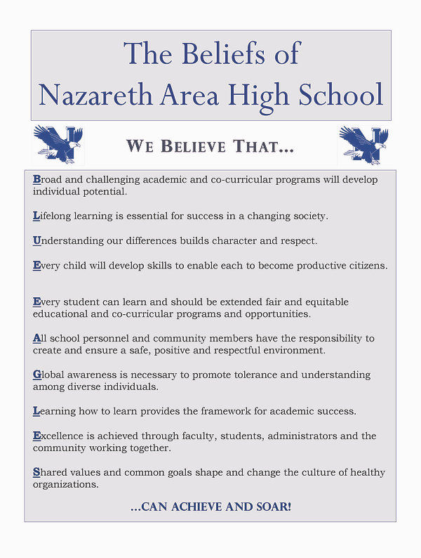 The Beliefs of Nazareth Area High School
