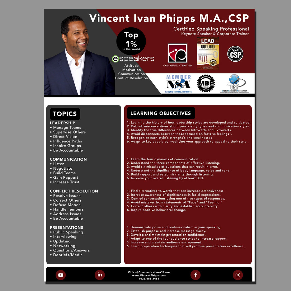 Vincent Ivan Phipps Speaker One Sheet Back