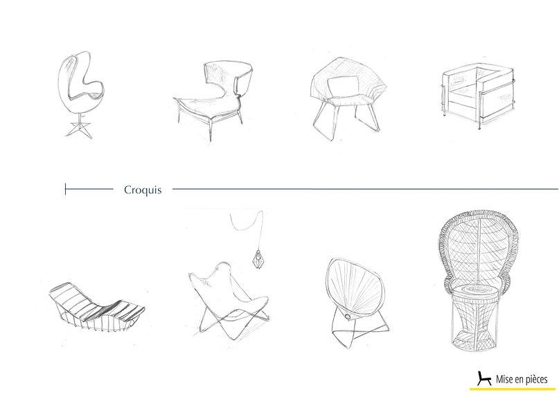 croquis dessins déco sièges design