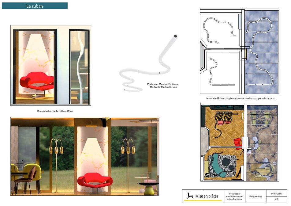 vue 3D décoration entrée magistrale paulin ribbon chair