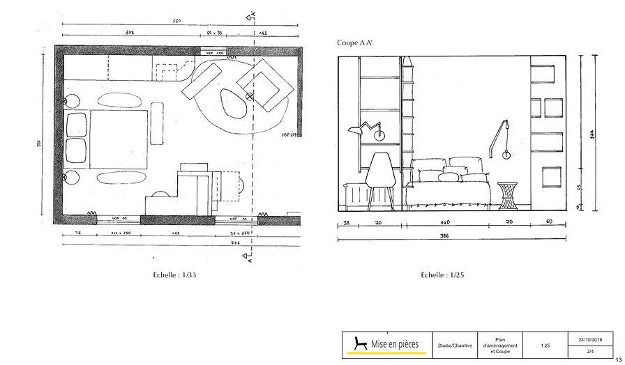 croquis dessins vue en plan élévation studio