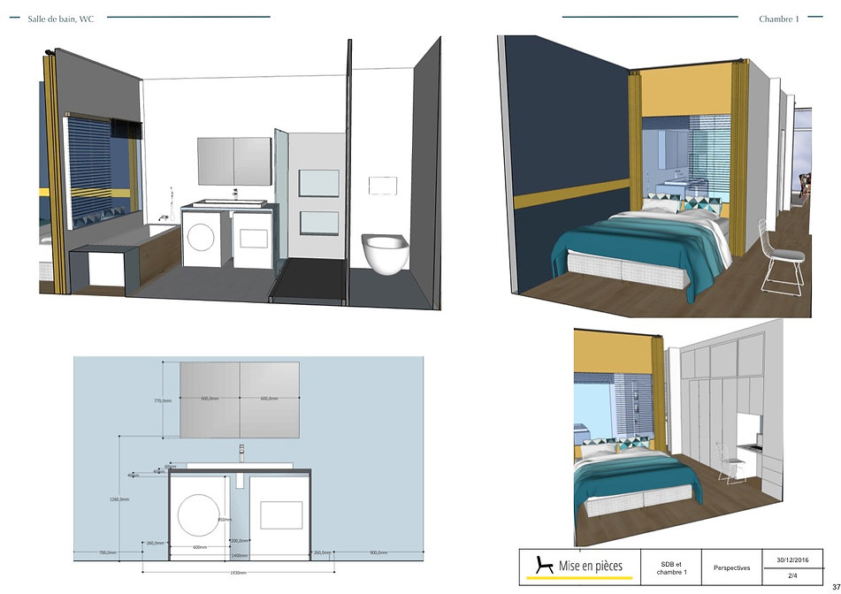 vue 3D décoration décoratrice chambre parentale salle de bain