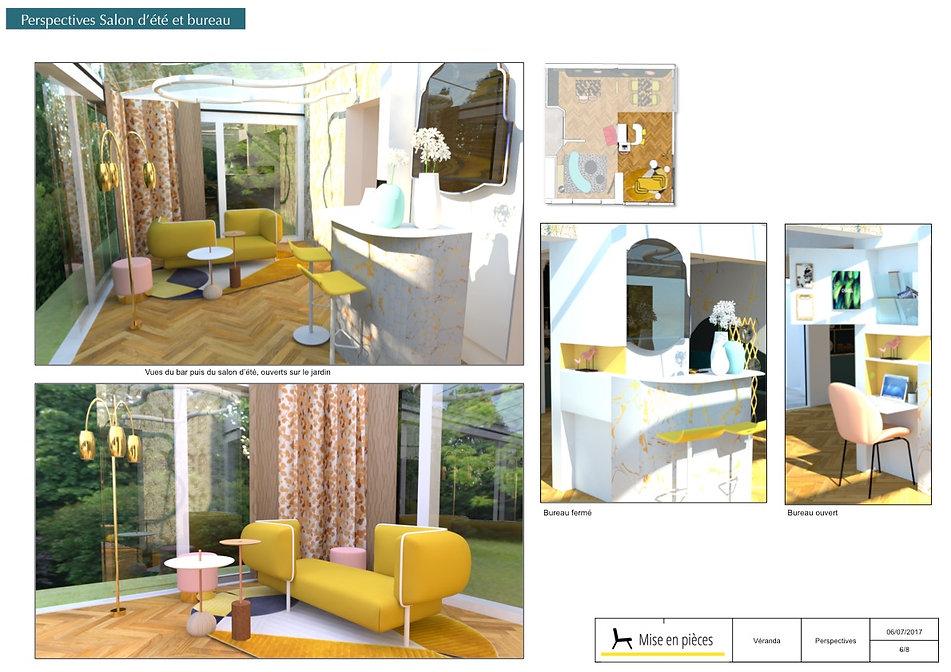vue 3D séjour véranda baie vitrée décoration
