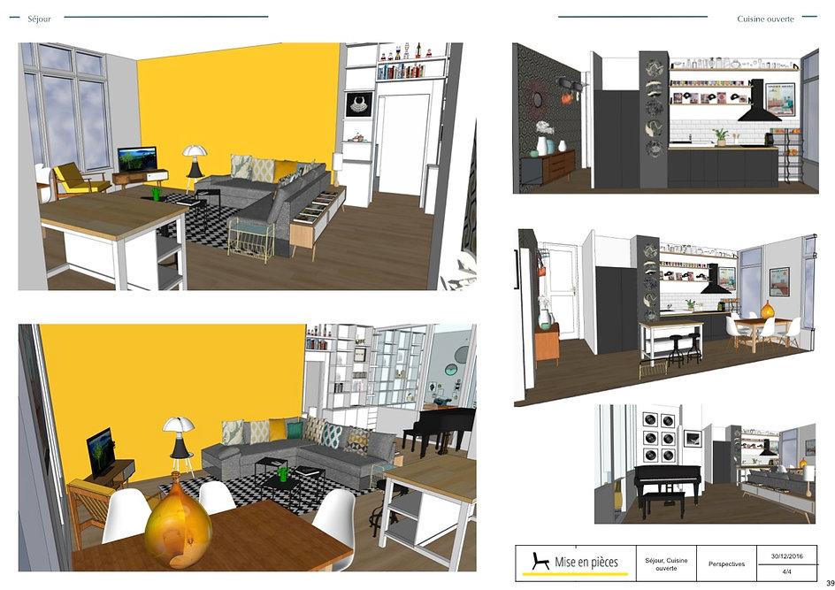 perspectives et vues 3D décoration agencement séjour cuisine ouverte