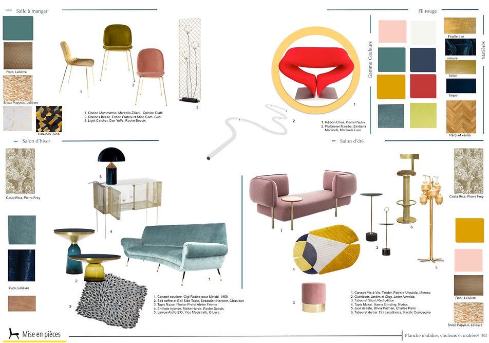 planche mobilier décoration luxe