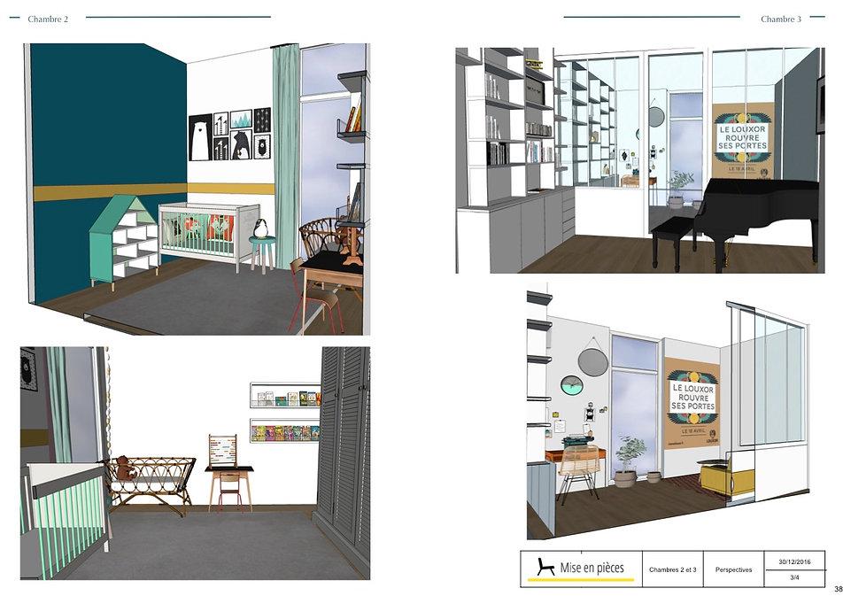 vues 3D agencement décoration chambres enfant bureau décoratrice