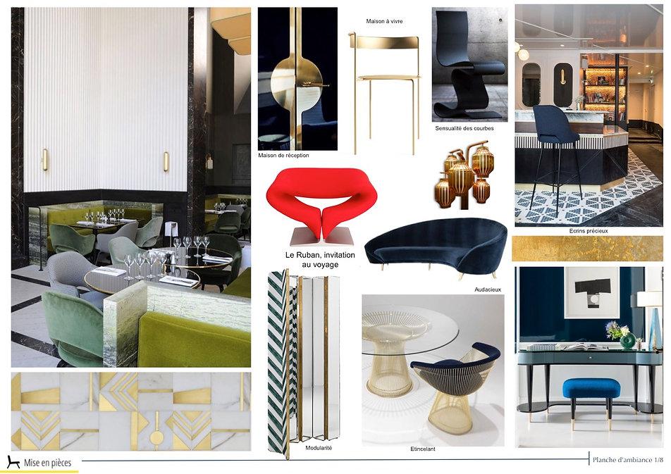 planche d'ambiance décoration luxe séjour