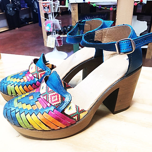Turquoise/Multi Color Leather Heel Shoes - Free Shipping