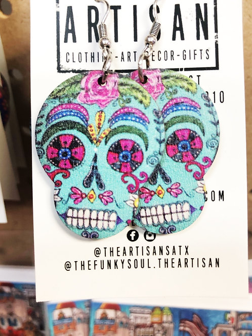 Sugar Skull Earrings (Teal) - Free Shipping