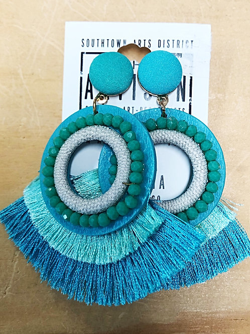 Turquoise Beaded Tassel Earrings  - Free Shipping
