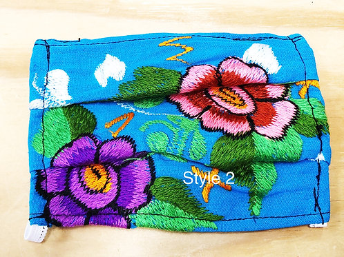 Embroidered Floral Face Masks With Filter Pockets