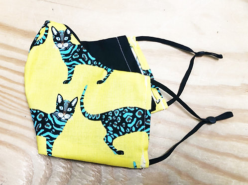 Yellow and Turquoise Cat Face Mask with Filter Pocket  - Free Shipping