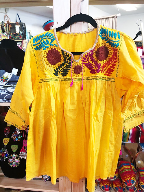 Embroidered Yellow Mexican Blouse - Free Shipping