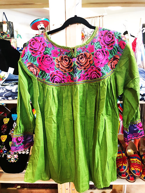 Green Mexican Blouse -Free Shipping