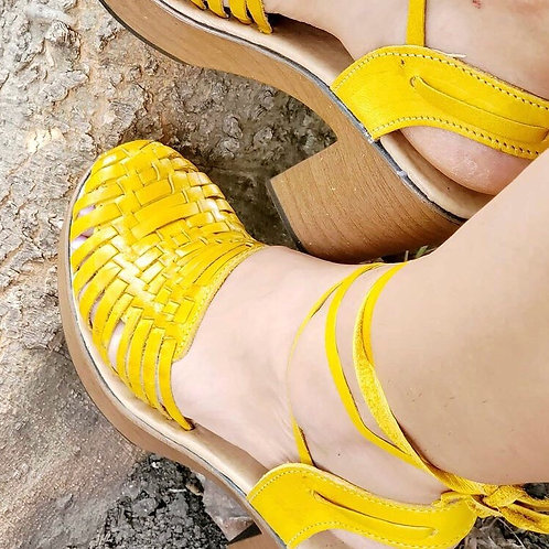 Beautiful Yellow Leather Shoes