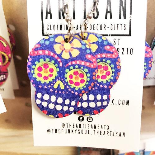 Sugar Skull Earrings (Purple) - Free Shipping