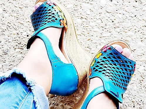 Turquoise / Multi Color Leather Wedge Shoes - Free Shipping
