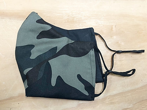 Dark Green Camo Face Mask With Filter Pocket - Free Shipping