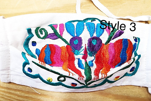 Embroidered Otomi Face Masks With Filter Pocket