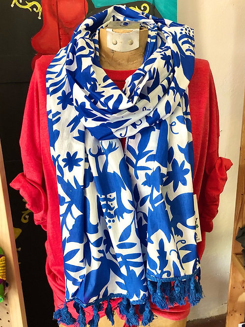 Blue and White Otomi Scarf