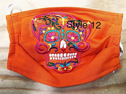 Sugar Skull Embroidered Face Masks With No Pockets