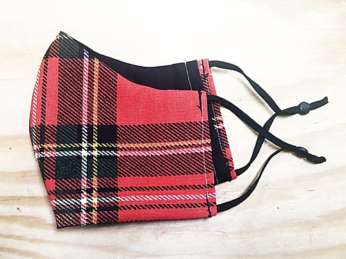 Christmas Red Plaid Face Mask With Filter Pocket - Free Shipping