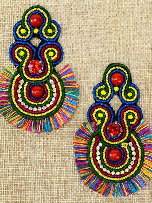 Multi Color Bead and Tassel Earrings  -  Free Shipping