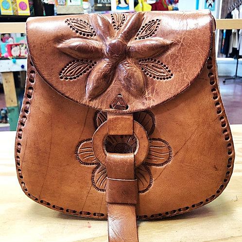 Leather Petal Shape Crossbody Purse