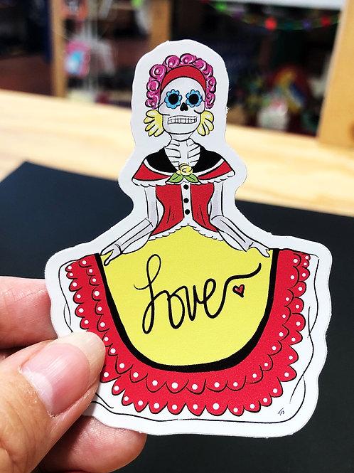 Folklorico Dancer Skeleton Sticker Decal