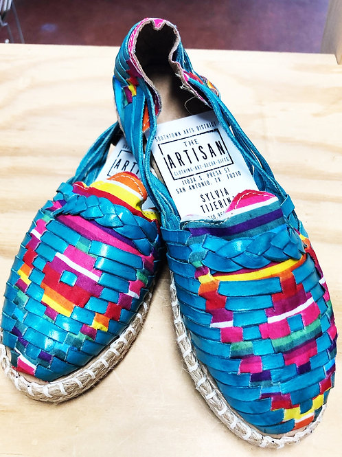 Turquoise Leather Serape Shoes/Sandals - Free Shipping