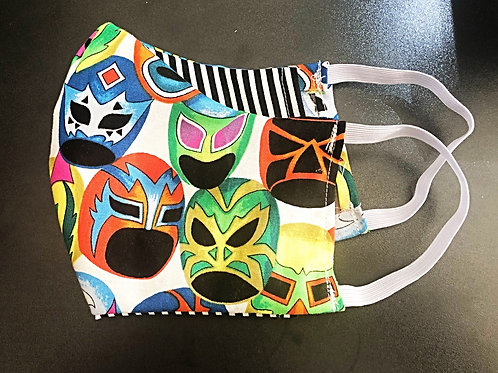 Face Mask With Filter Pocket (Luchador Print) - Free Shipping
