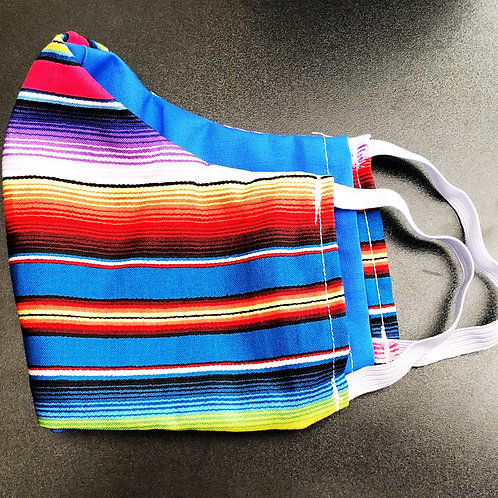Face Mask With Filter Pocket (Blue Serape Print) - Free Shipping