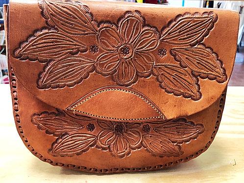 Leather Floral Crossbody Purse