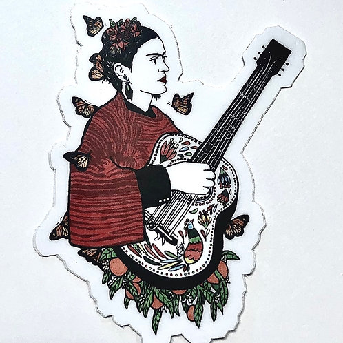 Frida with Guitar Sticker Decal