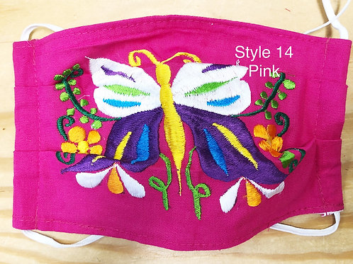 Embroidered Butterfly Face Masks With Filter Pockets