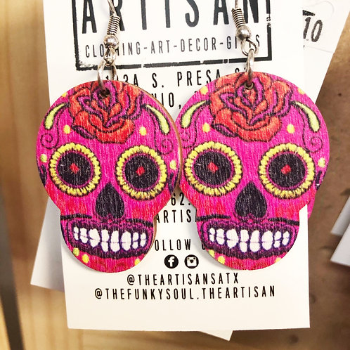Sugar Skull Earrings (Pink) - Free Shipping