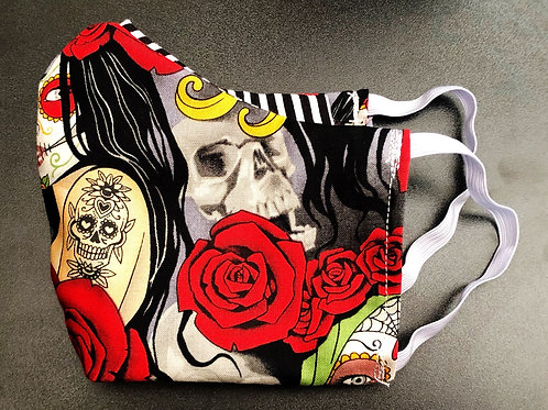Face Mask With Filter Pocket (Dia de Los Muertos Woman Print) - Free Shipping