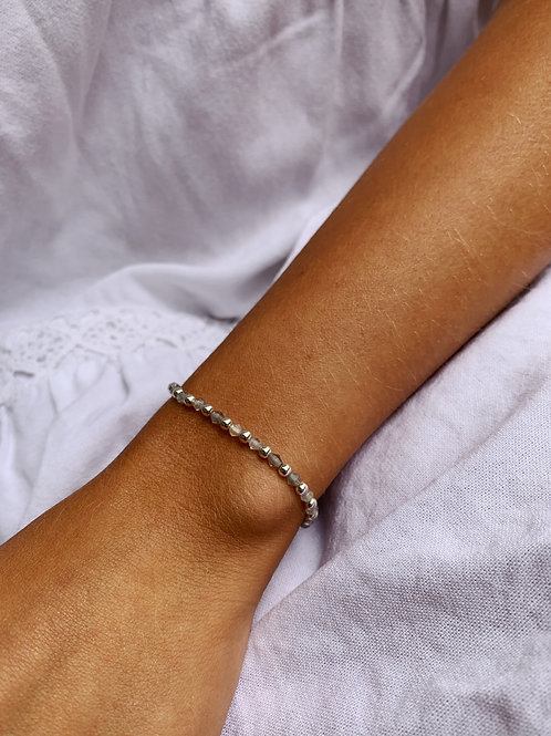 Ava Beaded Bracelet - Silver/Labradorite