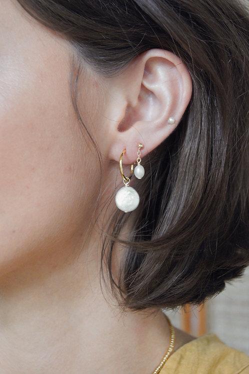 Shae Moon Shaped Freshwater Pearl Hoop Earring