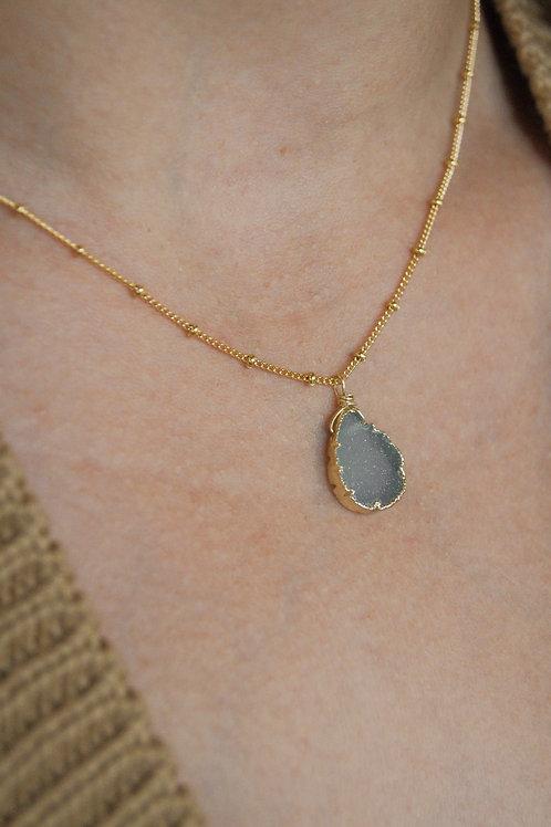 Caterina Aquamarine Druzy Necklace