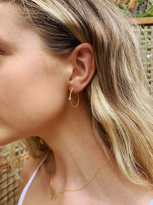 Evie Earrings - Turquoise/Gold